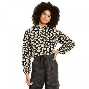 Wild Fable Leopard Print Fleece Cropped Hoodie